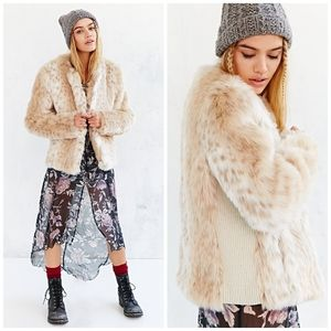 UO Kimchi Blue plush leopard print faux fur coat